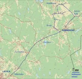 Kartta helikopteriraivauksista.