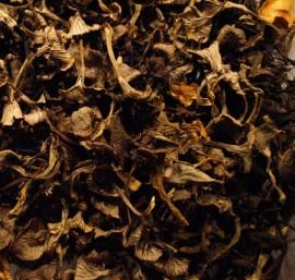 Sieniä riittää! Nämä ovat kuivurissa kuivaneet rapsakoiksi, ja lisäillään kastikkeisiin ja keittoihin.