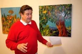 Vakka-Suomen Taideyhdistyksen puheenjohtaja Rauno Luttinen avasi näyttelyn. Taustalla Elisa Haapasalon teoksia. Kuva: Ville Juuti