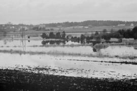 Parin vuorokauden aikana vettä satoi Laitilassa noin 33 millimetriä. Tulos on näkyvillä parhaiten Kodjalassa, jossa tulva on tuonut tutun syksyisen näkymän. Laitilan Sanomat 23.10.1981
