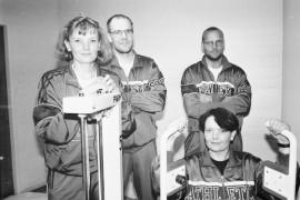 Tuija ja Kai Suominen sekä Tarja ja   Jarkko Saarela haluavat tuoda esille liikunnan iloisia puolia. Hyvä ja rento meininki on salilla   tärkeää. Laitilan Sanomat 11.8.1995