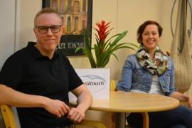 KotiRitarit on kotihoitoon paneutunut yritys. Kuvassa toimitusjohtaja Santtu Kuusinen ja kotihoitovastaava Marjo Kangas.
