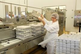 Vuonna 2014 Munaxilla pakattiin reilut 19 miljoonaa kiloa kananmunia. Työn touhussa Anne Jalonen. Arkistokuva: Solina Saarikoski